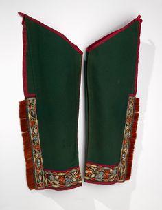 Wendat (Huron) leggings  ca. 1830  Ontario, Canada  Wool, leather, silk, quill, moose hair, metal, horse hair, cotton thread
