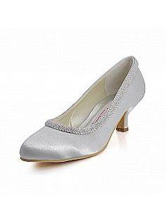 Closed Toes Low Heel Satin Bridal Shoes with Pearl - White or Royal Blue