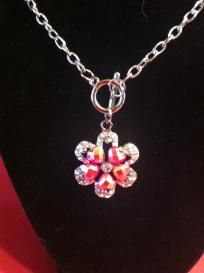 Beautiful Jeweled Flower w/ Hearts Pendant with Toggle clasp chain Free Ship No slice