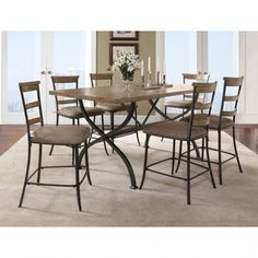 Hillsdale Furniture Charleston 7 Piece Counter Height Rectangle Wood Dining Set With Ladder Back Stools