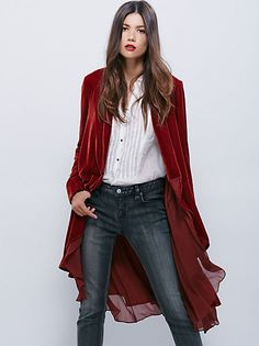 $198-Yesterday's Muse Velvet Jacket | Super luxe, this soft velvet jacket features side pocket detailing and a front bust pocket, in a slouchy silhouette.  Bronzed buttons on the sleeve cuff.  Lined.