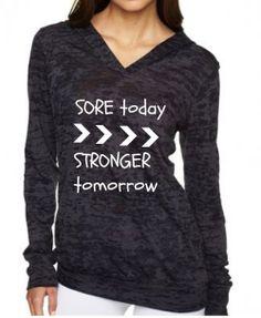 Burnout Hoodie Long Sleeve Shirt Womens Fitness by EmeraldThreadz, $30.00
