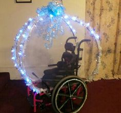 Wheelchair decoration - Cinderella carriage- Momma does not like this one- but I think its so cool!