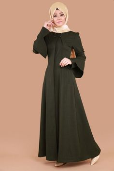 Volan Detay Ferace BRN61162 Haki Muslim Women, Designer Wear, Fashion Ideas, Stylish, How To Wear, Collection, Dresses, Vestidos, Dress