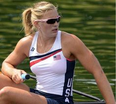 Meghan Musnicki wins gold as a member of the US women's rowing team.