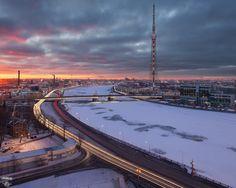 Кантемировский мост, Большая Невка, телебашня, город, крыши