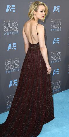 The back of Rachel McAdams' burgundy Elie Saab dress at the Critics' Choice Awards