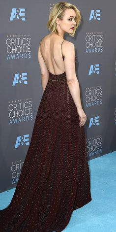 The back of Rachel McAdams' burgundy Elie Saab dress at the Critics' Choice Awards