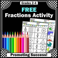 You will download a free math worksheet for 1st, 2nd grade, 3rd grade or special education students to practice pictorial fractions. You may use it as a quick formative assessment, math review or test prep. An answer key is also provided.  CCSS.Math.Content.3.NF.A.1Click here to see the entire packet of no prep fraction activities:No Prep Fraction Worksheet Packet---------------------------------You may also like:Grade 3 Fractions Mega Bundle with 320 Task Cards and 2 Activity PacketsGrade…