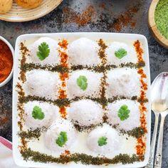 Step by step soft and spongy non-fried Dahi Vada recipe. How to make soft Dahi Bhalla or Dahi Vada recipe. Khoya Recipe, Dahi Vada Recipe, Halloween Treats, Feta, Bread, Cheese, Indian, Drinks, Recipes