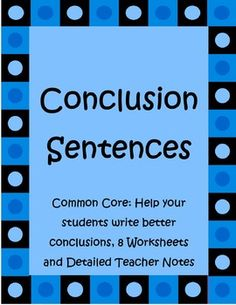 writing topic sentences and concluding sentences | Room 8 ...