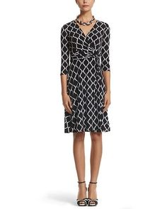 Love the flattering shape of this dress!  White House | Black Market Printed Wrap Dress #whbm