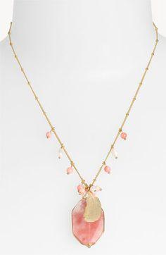 Cara Accessories Semiprecious Oval Pendant Necklace   Nordstrom