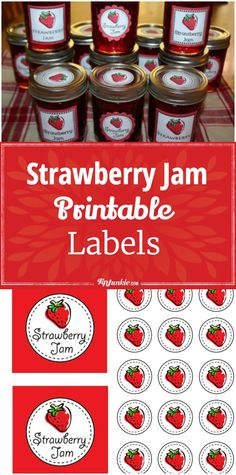 Free printable Strawberry Jam Labels to add to homemade jam jars. Makes a great gift idea!