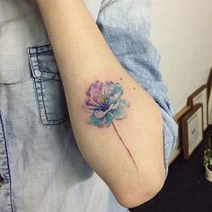 Blue Cherry Blossom Watercolor Tattoo Idea: