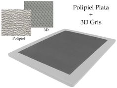 Base Tapizada Polipiel Plata + 3D Gris