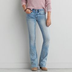 Kick Boot Cut Jeans ($40) ❤ liked on Polyvore featuring jeans, forever light, short jeans, american eagle outfitters, light wash bootcut jeans, boot-cut jeans and boot cut jeans