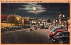 Vintage Maine Postcard - Old Orchard Street at Night, Old Orchard Beach