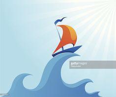 Vector Art : Sail boat on high ocean wave illustration
