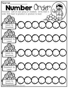 Number Order! Put the snowballs in order from least to greatest and greatest to least!