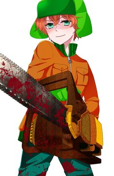 "This appears to be an anime version of South Parks ""Kyle"" with a chainsaw. Yeah. I will not be surprised if this links through ends in some weird SP gay hentai. I didn't click it, you were warned, none the less this is still pretty cool."