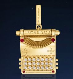 Louis Vuitton Typewriter charm in yellow gold with diamonds