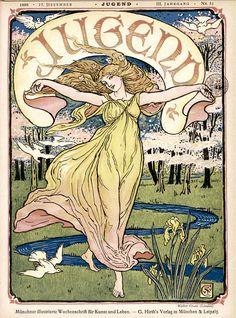 "Shop Walter Crane ""Jugend"" Art Nouveau Poster created by MyOtherPlanet. Art Nouveau Illustration, Art Nouveau Poster, Walter Crane, Munich, Jugendstil Design, Commercial Art, Alphonse Mucha, Magazine Art, Magazine Covers"