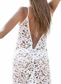 Wearing a necklace backwards . . . with a V back dress!