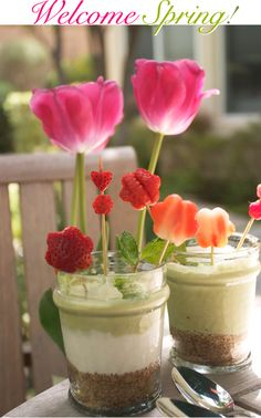 green tea and strawberry parfait...or only the adorable strawberry flowers and hearts!!!!!!!!!!