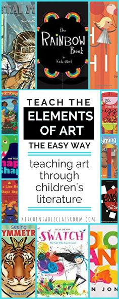 Children's lit is my go-to move for introducing ideas to my kids; be it an art movement or a science concept. Books about art elements are no exception! Cover the concepts of line, shape, color, value, texture, form, and space through children's literature.