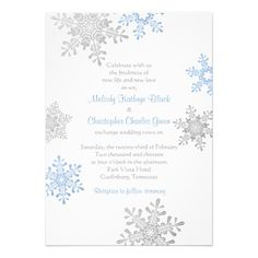 You can easily personalize the text on this simple silver grey, lapis blue, and white snowflakes winter wedding invitation. To change the text, use the personalize options. Or, for more extensive text changes, including changes to the font, font color, font size, and/or text placement, use the customize it option. Change the text and use this for any other special occasion. The design has a very modern feel with bold shapes and elegant colors. You could use this as a Christmas holiday party…