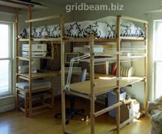 grid beam sleeping loft