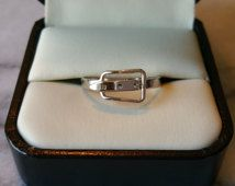 """Vintage Sarah Coventry 1979 """"Buckle"""" Silver Belt Style Ring Adjustable Size"""