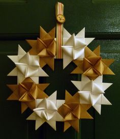 Brown paper and white card origami wreath