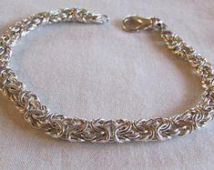 b5e2e06d46ee Pulsera de eslabones de plata nudos marineros nudo de amor. pulsera de  eslabones de las mujeres