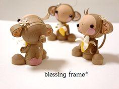 Monkey quilling blessing frame