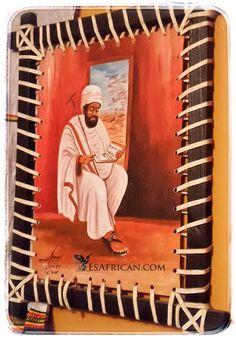 An Ethiopian man reading a prayer book. Artwork @ Alem Ethiopian in Blantyre