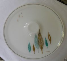 Serving Dish Gold & Turquoise Leaves Glass Mid Century Atomic David Douglas 50s