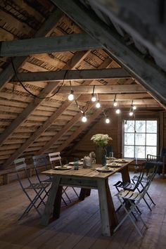 what an interesting attic space to eat in. love it!