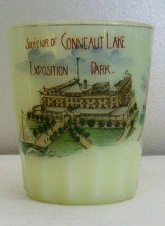 Vintage Souvenir of Conneaut Lake Exposition Park Opaque Vaseline Custard Glass