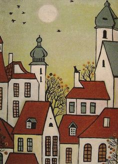 ACEO Abstract Folk Art Print of Painting RYTA Houses Crow Town Black Cat Trees | eBay