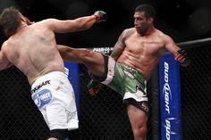 Fabricio Werdum kicks Roy Nelson at UFC 143 on Feb. 4, 2012 in Las Vegas.