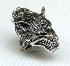 Werewolf Head Design Mens Ring. Heavy 925 Sterling Silver Ring.