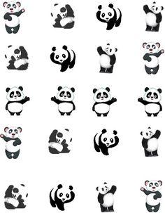 This card of 20 has 4 each of 5 different waving Panda bears. Half facing right --- half facing left. Mini Tattoos, Cute Tattoos, Small Tattoos, Panda Bear Tattoos, Animal Tattoos, Panda Nail Art, Panda Illustration, Panda Drawing, Panda Party