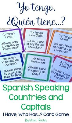 Whole class interactive game to practice Spanish speaking countries and capitals