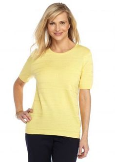 Alfred Dunner  Sausalito Solid Texture Sweater