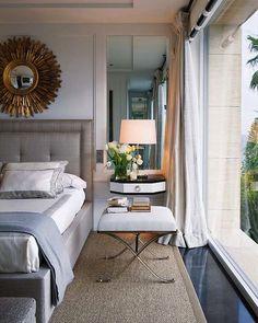 Suzie: Nuevo Estilo - Pablo Paniagua - Chic bedroom with pale blue paint color, linen curtains, ...