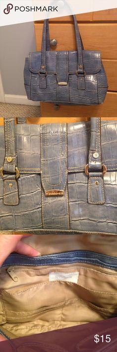 "🆕 Listing! Liz Claiborne Blue Faux Aligator Bag Perfect condition, denim blue bag, dimensions are 10.5"" wide x 8"" long x 4"" sides.  Spotless tan interior, very cute piece! Liz Claiborne Bags"
