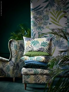 cushions in ikeau0026 gillhov fabric are a modern graphic take on everpopular palmleaf prints