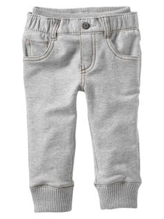 "Knit-waist French terry pants The absolute best ""baby jean"" there is. I wish they made it in a matching mommy size :) Toddler Boy Fashion, Toddler Outfits, Baby Boy Outfits, Toddler Boys, Baby Kids, Kids Outfits, Kids Fashion, Baby Girl Pants, Baby Jeans"